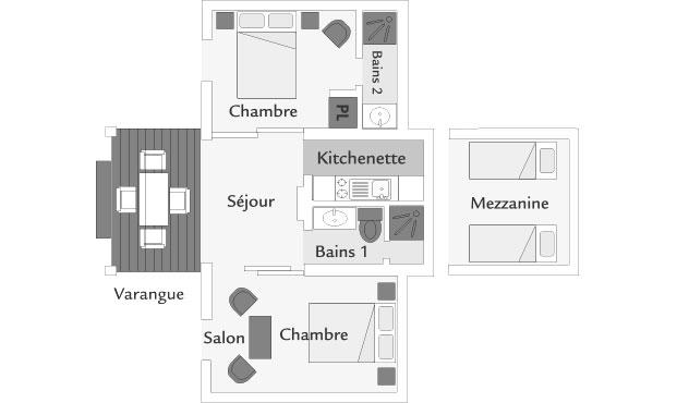 Plan d'un bungalow Famille, ILOHA Seaview Hotel 3*, île de la Réunion