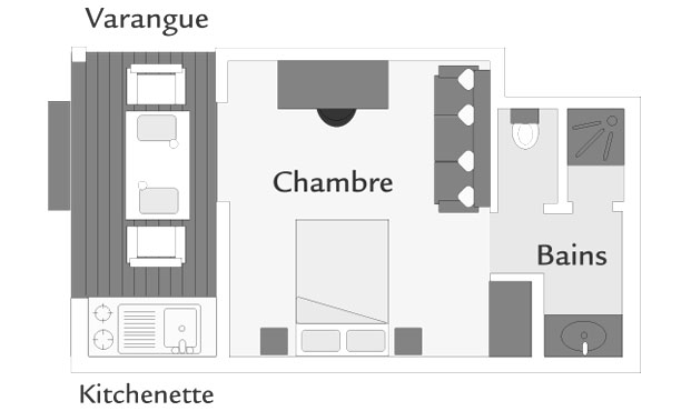 Plan d'un bungalow Kitchenette, ILOHA Seaview Hotel 3*, île de la Réunion