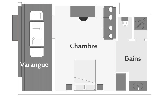 Plan d'un bungalow Tropique, ILOHA Seaview Hotel 3*, île de la Réunion