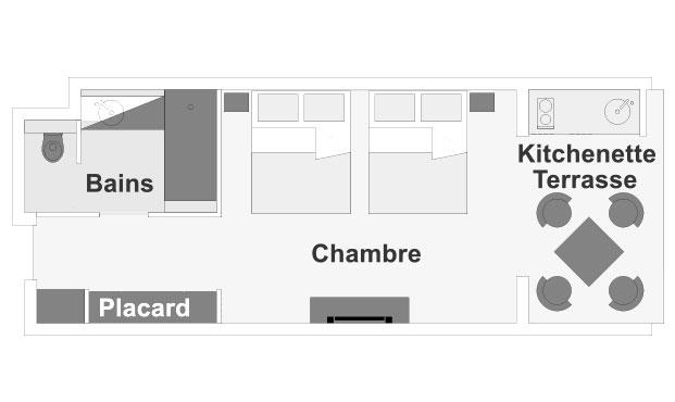 Plan d'étage de la chambre Guétali, ILOHA Seaview Hotel 3*, île de la Réunion