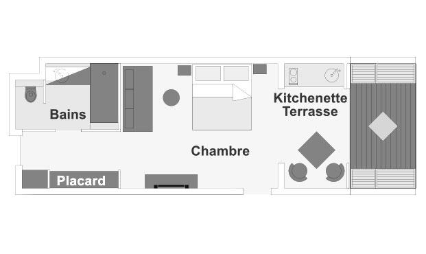 Plan de rez-de-chaussée de la chambre Guétali, ILOHA Seaview Hotel 3*, île de la Réunion