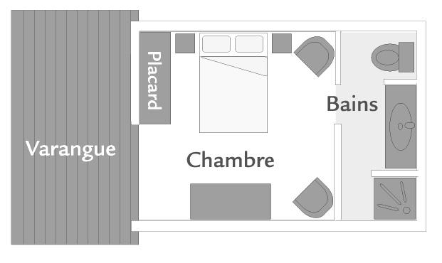 Plan de la chambre Standard, ILOHA Seaview Hotel 3*, île de la Réunion