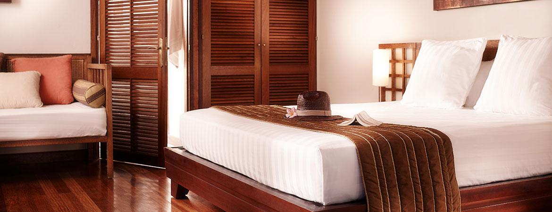 La chambre du bungalow Tropique, ILOHA Seaview Hotel 3*, île de la Réunion