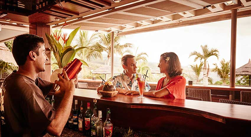 Enjoy delicious cocktail at the hotel bar, ILOHA Seaview Hotel 3*, Reunion island