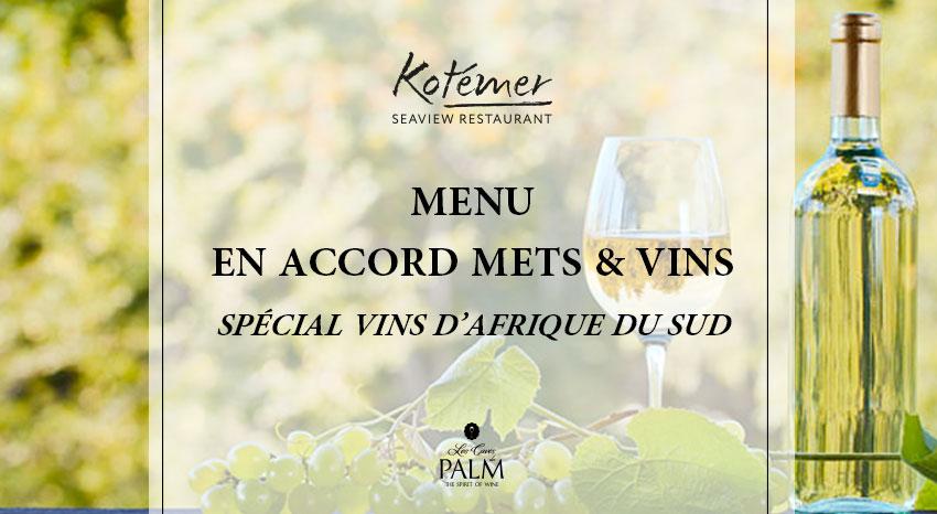 menu en accord mets et vins